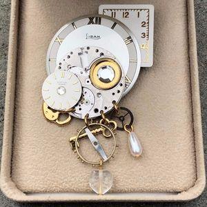 Brooch Pin Clock Faces Liban Datum Geneve